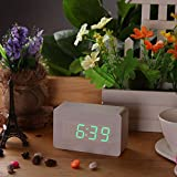 Creative Wooden LED Green Digital Alarm Clock with Temperature Display Voice Sound Activated USB DC6V Despertador Relogio De Mesa