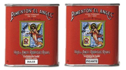 Spanish Smoked Paprika. Hot & Sweet. Set of 2 tins. El Angel Brand (since 1880) by El Angel