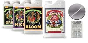 Avanzado nutrientes floración crecer Micro 4L & Carboload W/tabla de conversión & pipeta