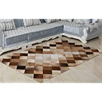 Hand-stiched Genuine Cowhide Leather Patchwork Rug for living room,Extra large is 6.5Ft By 4Ft | 11.8lbs for 100% Natural Cowhide Carpet