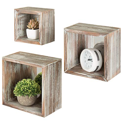 Torched Wood Square Wall-Mounted Shadow Boxes with Mirror Backing, Set of - Contemporary Shadow Mirror Box