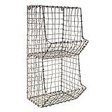 """Colonial Tin Works Mini Rustic Wire General Store Wall Bin,Gray,7½""""W x 7″D x 16″T"""