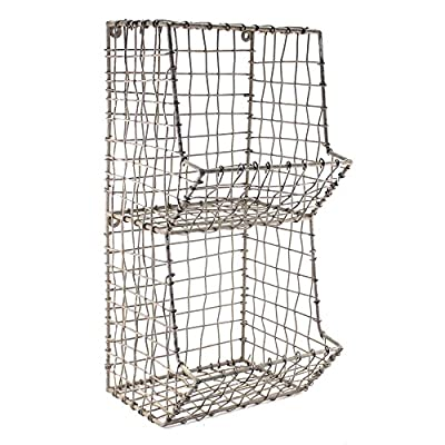 "Colonial Tin Works Mini Rustic Wire General Store Wall Bin,Gray,7½""W x 7""D x 16""T - Stylish wire wall rack has two equally sized bins. Distressed matte gray finish. Comes with keyholes on back for hanging - hardware and accessories not included. - wall-shelves, living-room-furniture, living-room - 51gUwHuv4SL. SS400  -"