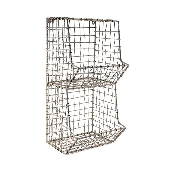 "Colonial Tin Works Mini Rustic Wire General Store Wall Bin,Gray,7½""W x 7""D x 16""T - Stylish wire wall rack has two equally sized bins. Distressed matte gray finish. Comes with keyholes on back for hanging - hardware and accessories not included. - wall-shelves, living-room-furniture, living-room - 51gUwHuv4SL. SS570  -"