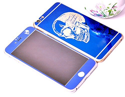 Dreams Mall(TM)Top Fashion Electroplating Mirror Effect with Skull Tempered Glass Screen Protector Film Decal Skin Sticker Front & Back for Apple iPhone 6 Plus 5.5 inch-Blue