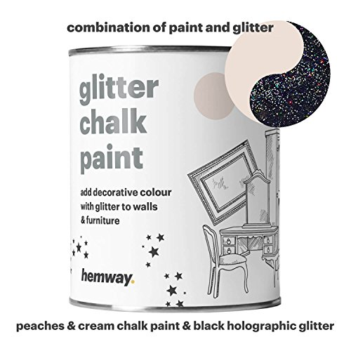 Hemway Peaches n Cream Chalk Paint (with Black Holographic Glitter) Sparkle Matt finish Wall and Furniture Paint 1L/35oz Shabby Chic Vintage Chalky Crystal (25 Glittery Colours Available) (Chic Shabby Paint)