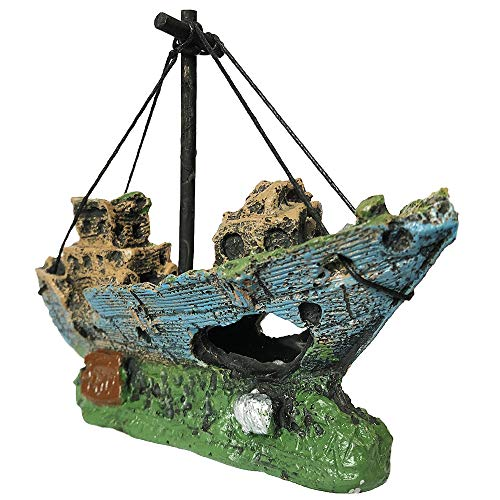 SLOME Aquarium Resin Boat Ornament - Fish Tank Shipwreck Decorations Sunken Ship Ornament,Aquarium Ornament for Freshwater Saltwater Tanks