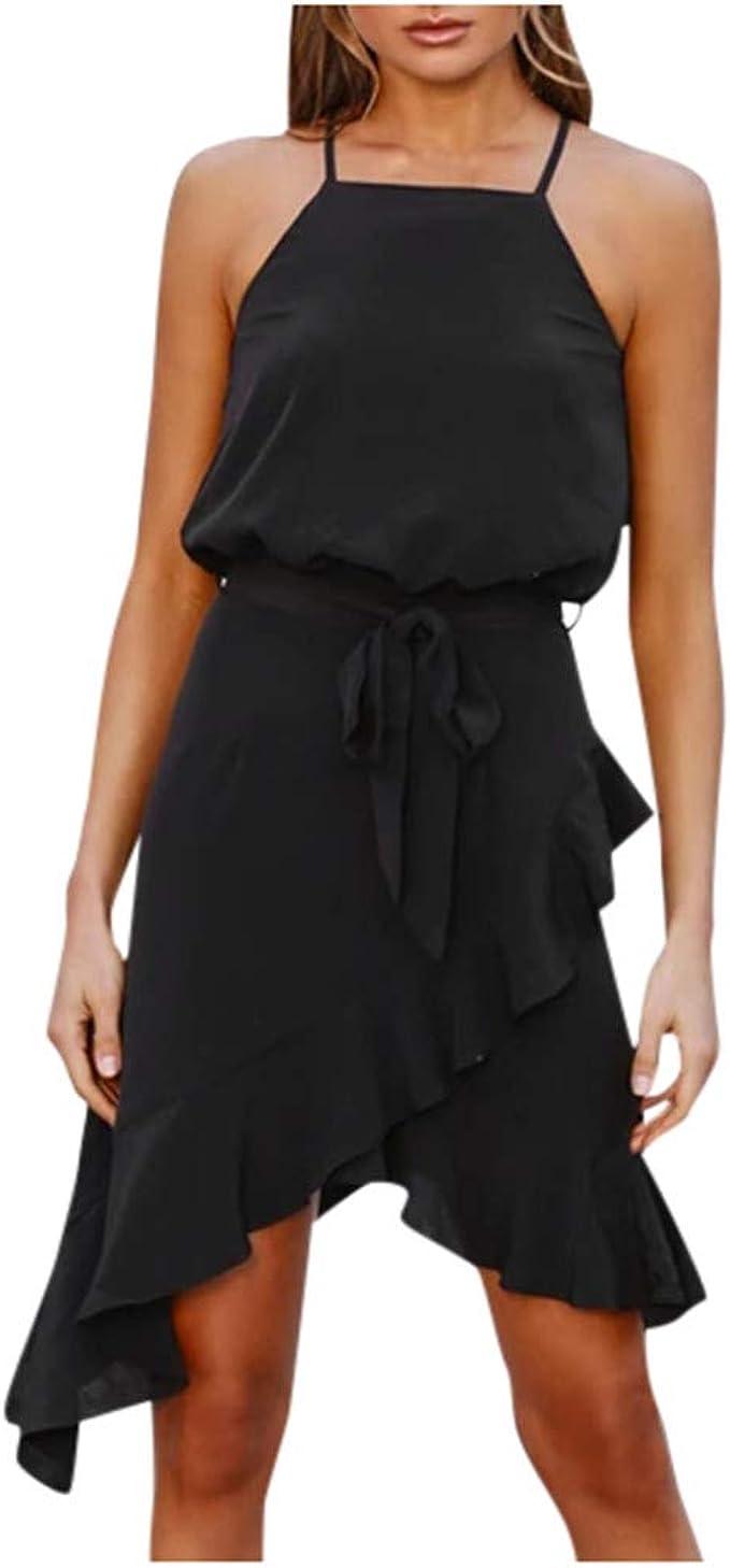 Kiyotoo Womens Adjustable Strappy Split Summer Beach Casual Midi Dress Asymmetrical High Low Bohemian Party Maxi Dress