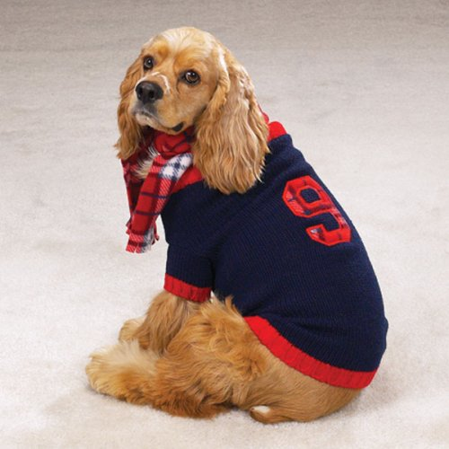 English Rugby Dog Pet Sweater Coat Plaid Scarf S