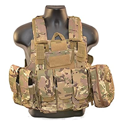 GAGA Tactical Airsoft Combat Vest With MOLLE Pouches CP Cam