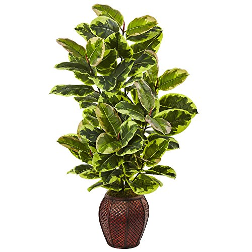 (Nearly Natural 6909 Rubber Plant with Planter)