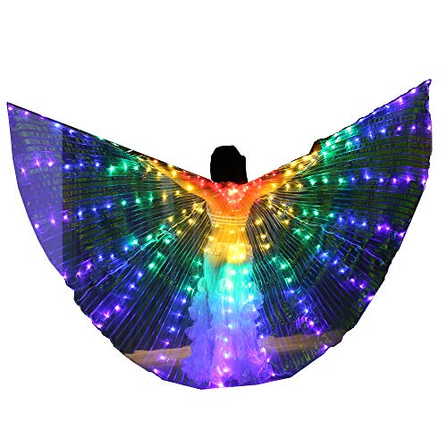 US FCC Certificated Super Bright 216 Lamps 270-Degree Safety Led Belly Dance Isis Wings Costumes (Only Wings) ()