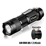 hiking water filter reviews VTech17 brightest Tactical Flashlight - The Original 300 Lumen Ultra Bright, LED Mini 3 Mode Flashlight, Tools for Hiking, Hunting, Fishing and Camping, military flashlight - set of 1 - Balck