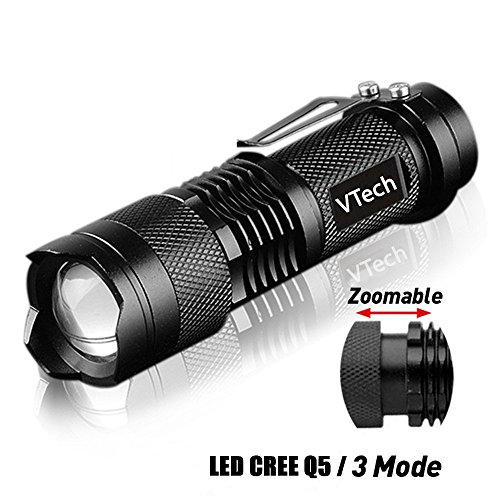 VTech17 brightest Tactical Flashlight - The Original 300 Lumen Ultra Bright, LED Mini 3 Mode Flashlight, Tools for Hiking, Hunting, Fishing and Camping, military flashlight - set of 1 - Balck