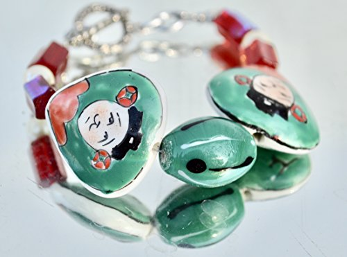 Avant Garde Handmade Green Face Antique WW2 Czech Glass Beads heart Faces Ceramic Chinese Cloisonné Bracelet Silver Beaded