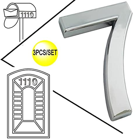 Magicdo 3/pack 2-3/4'' Silver Modern House Numbers, Modern Mailbox Number Sticker, 3D Metal Shining Reflective Number, Self-Stick Number, Floating Appearance Number, Silver House Number Signs ( 7)