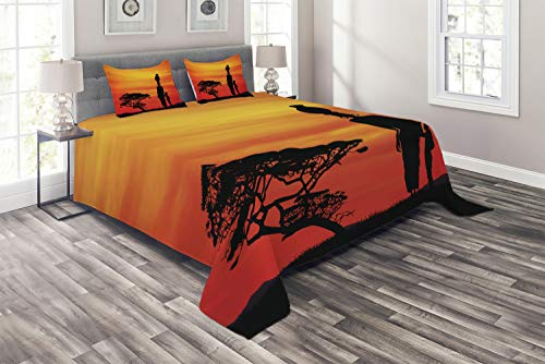 Ambesonne African Woman Coverlet Set King Size, Rural Countryside Landscape Mother and Child at Sunset Acacia Tree, 3 Piece Decorative Quilted Bedspread with 2 Pillow Shams, Yellow Scarlet Black