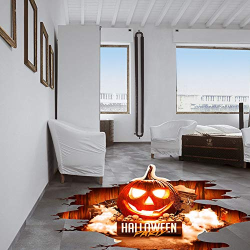 Halloween Floor Sticker PVC 3D Decorative Scary Pumpkin Ghost Hand Bats Spider Wall Decal Wall Sticker Halloween Eve Decor Party Supplies Home Decoration (A) -