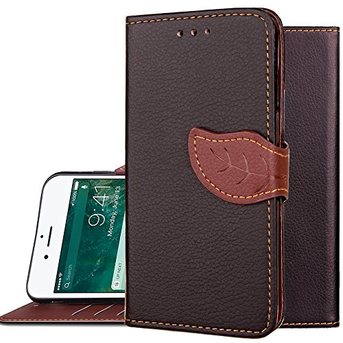 "Black Folding Case (iphone 6Plus Case,iphone 6+ Wallet Case,Auker Folio Flip[Folding Stand]Book Style 3 Card Holder[Detachable Strap]Vintage PU Leather Hybrid Protective Cover with Purse for iphone 6s Plus 5.5""(Black))"