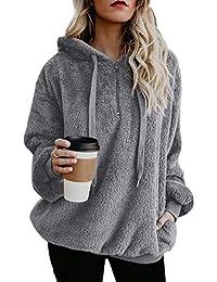 Womens Fuzzy Hoodies Pullover Cozy Oversized Pockets Hooded Sweatshirt Athletic Fleece Hoodies