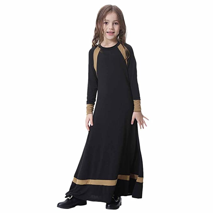 Girls Muslim Maxi Praise Lyrical Dress for Kids Dance Abaya Islamic Kaftan Gown
