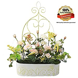 RERXN Europern Pastoral Artificial Flower in Iron Basket Silk Rose with Hanging Rack Indoor Outdoor Home Wedding Decor 105
