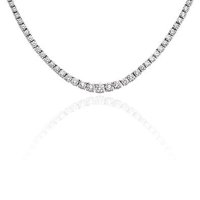 47024c4ae1cde2 Amazon.com: KATARINA 6 ct. Graduated Diamond Tennis Necklace in 14K ...