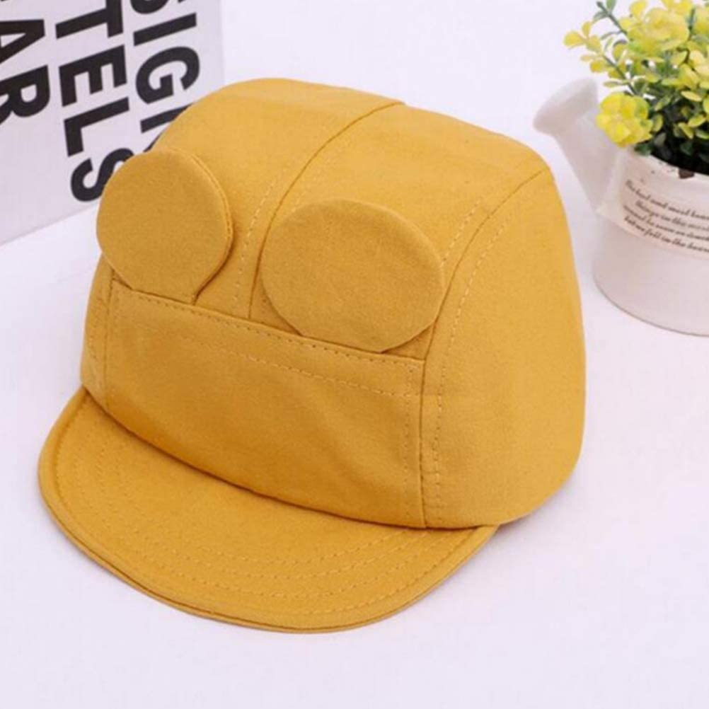 FENICAL Kid Rabbit Ear Decor Hat All-Match Soft Brim Cap for Kid Child Girl Yellow