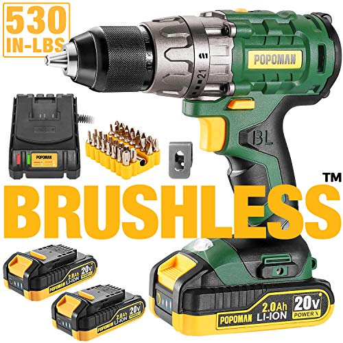 "Cordless drill, 20V Brushless 1/2"" Drill Driver, 2x2000mAh Batteries, 530 In-lbs Torque, 21+1 Torque Setting, Fast Charger 2.0A, 2-Variable Speed, 33pcs Accessories"