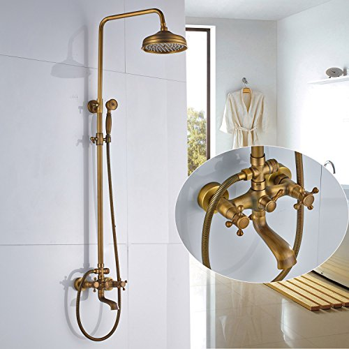 Rozin Wall Mounted Bathroom Rainfall Shower Set Tub Mixer Tap with Hand Sprayer Antique Brass