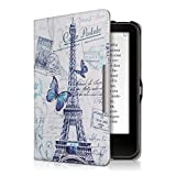 kwmobile Case for Tolino Vision 1/2 / 3/4 HD - Book Style PU Leather Protective e-Reader Cover Folio Case - blue grey white