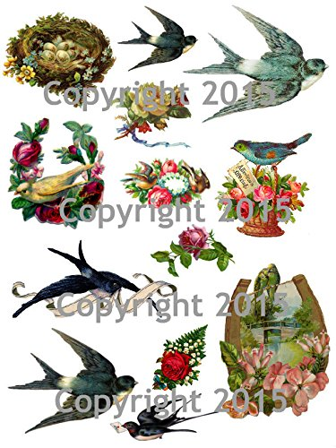 Victorian Birds and Flowers # 101 Collage Sheet Paper Moon Media