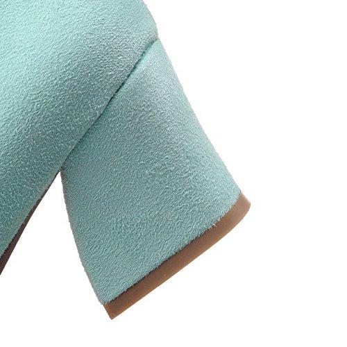 AllhqFashion Mujer Esmerilado Puntera Cuadrada Puntera Cerrada Tacón Medio Sin cordones Sólido De salón Azul