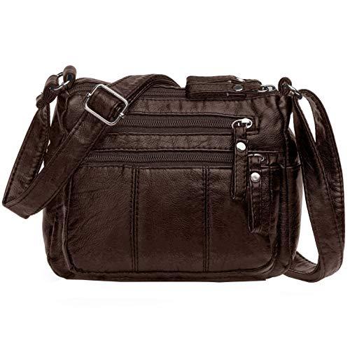 Volcanic Rock Women Crossbody Bag Pocketbooks Soft PU Leather Purses and Handbags Multi Pocket Shoulder Bag (Chocolate-8.5