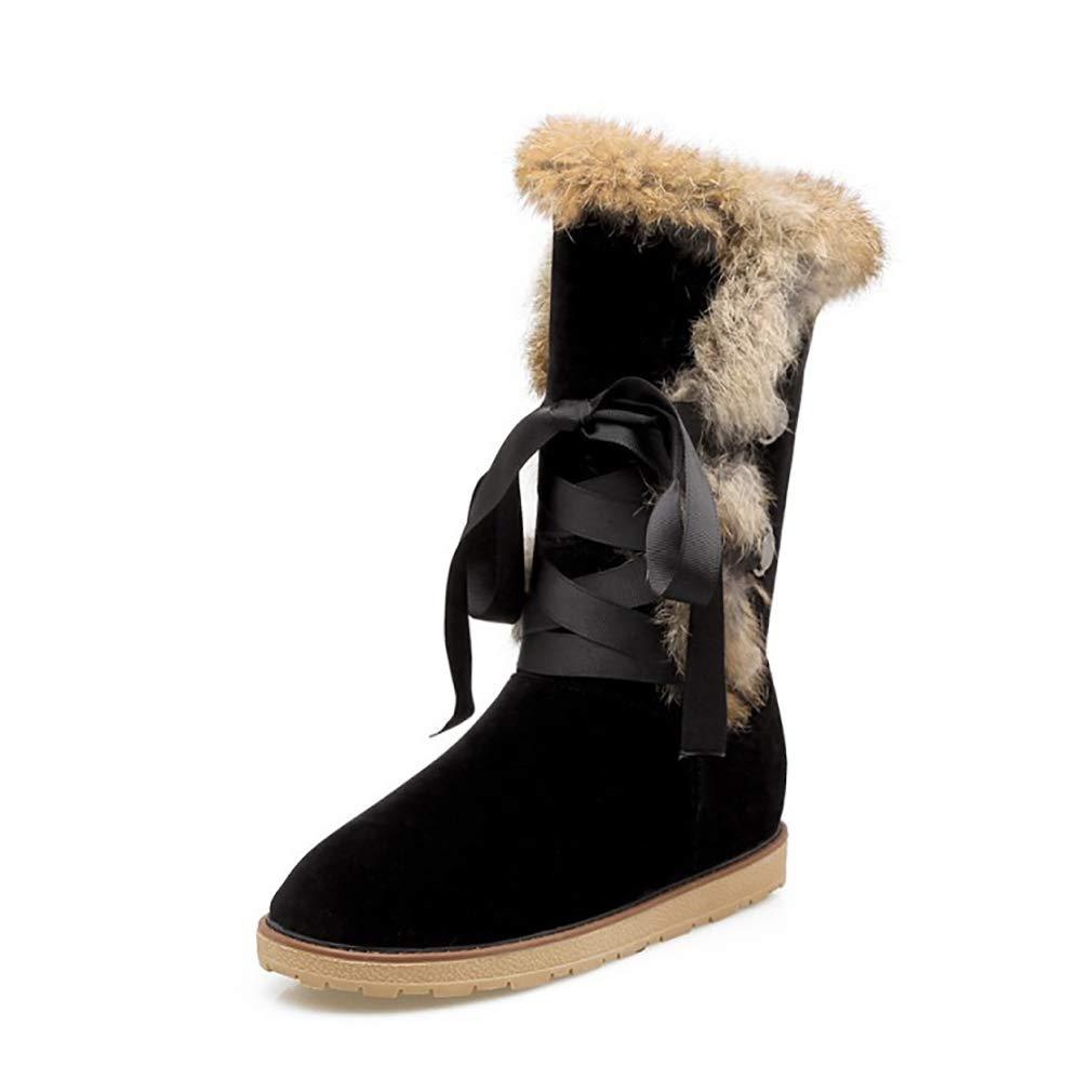 Hy Frauen Stiefel Winter Künstliche PU Schneeschuhe Stiefel Damen Warm Plus Dicke Lässig Stiefelies Student Große Größe Flache Stiefel Lace-up Stiefeletten (Farbe   B Größe   34)