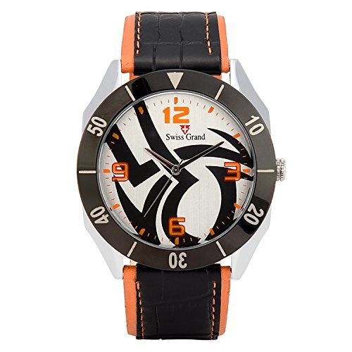 Swiss Grand SG 1157 Orange Coloured with Orange Leather Strap Analog Quartz Watch for Men