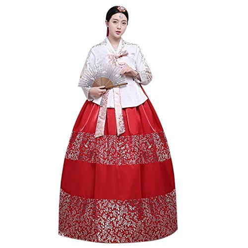 Lemail Womens Hanbok Dress Korean Traditional Dress Wedding Costume White&red L by Lemail wig