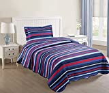 MarCielo 2 Piece Kids Bedspread Quilts Set Throw Blanket for Teens Boys Girls Bed Printed Bedding Coverlet, Twin Size (Navy Blue Ocean Breeze)