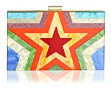 Women Acrylic Clutch Purses For Women with Chain Strap Striped Desiger (05)