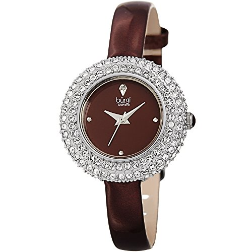 (Burgi Women's BUR195 Swarovski Crystal & Diamond Accented Watch - Comfortable Leather Strap in A Gift Box (Silver & Burgundy))