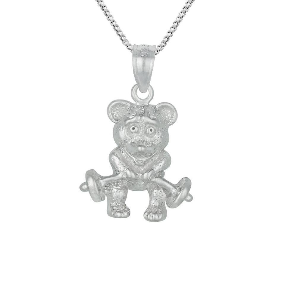 Made in USA Sterling Silver BEAR LIFTING BARBELL 3D Solid Pendant 18 Italian Box Chain