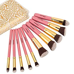 Makeup Brushes Set by Soobest , Makeup Brush kit Contains 10pcs Cosmetic Powder Kabuki Foundation Brushes & Applicators with Luxury Carry Bag -Professional Grade & Tested Synthetic Bristles(pink)