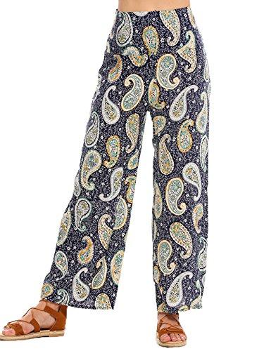 Zeagoo Elastic Waist Wide Legs Pants Ethnic Palazzo Baggy Culottes Trouser