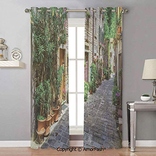(Tuscan Decorative Semi Sheer Curtains Thermal Insulated Light Curtain Panels for Bedroom,42x96 Inch Doorway to Tuscan House Build with Cobblestone with Many Flowering Plants)