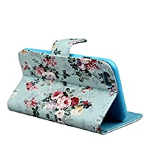 Changeshopping for iPhone 6 Plus Blue Floral Pattern Flip Leather Stand Wallet Case Cover Skin