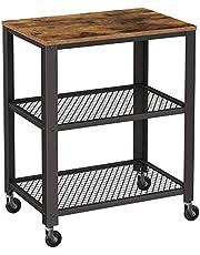 Vasagle LRC78X wózek do serwowania, przemysłowy wózek kuchenny na kółkach, organizer do przechowywania o dużej wytrzymałości, do kuchni i salonu, rustykalny brązowo-czarny