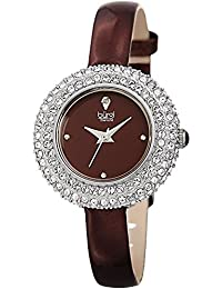Women's BUR195 Swarovski Crystal & Diamond Accented Watch - Comfortable Leather Strap in A Gift Box (Silver & Burgundy)