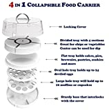 Collapsible Portable Food Carrier for Cakes, Cupcakes, Deviled Eggs, Vegetables and Dip - 4 in 1 Perfect Appetizer Platter for Party or Traveling, Space-Saving, Easy to Carry Plastic Storage with Lid
