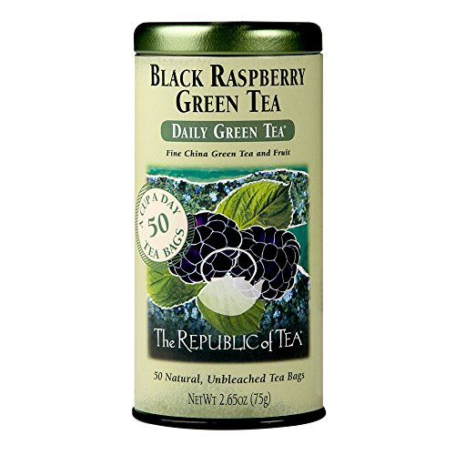 Naturally Flavored Black Tea - REPUBLIC OF TEA Black Raspberry Green Tea, 50 CT