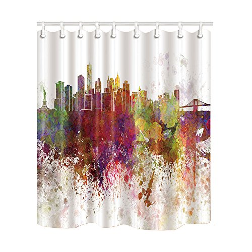 City Bath - NYMB Home Decor Watercolor New York City Skyline Shower Curtain 69X70 inches Mildew Resistant Polyester Fabric Bath Fantastic Decorations Bath Curtain Hooks included